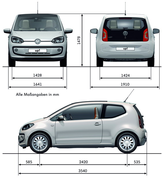 Volkswagen up skoda citigo seat mii pe ne dane for 1 5 dimensioni del garage